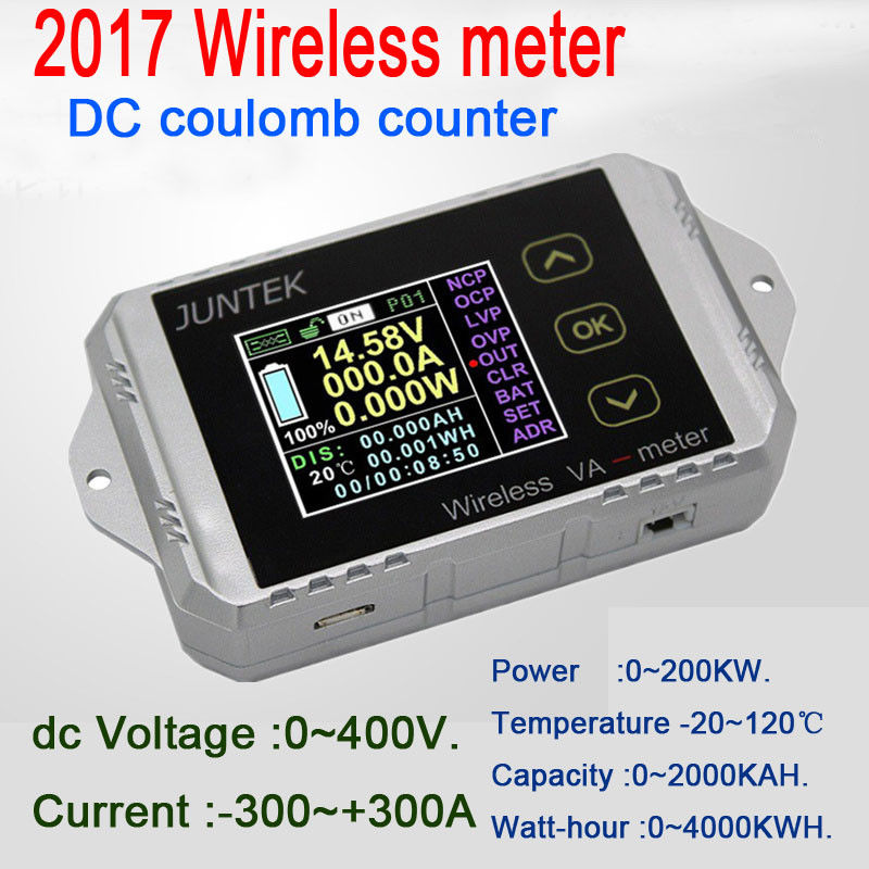 Compteur numérique DC 400 V 300A température sans fil courant tension KWh Watt mètre voiture batterie coulomètre capacité testeur de puissance