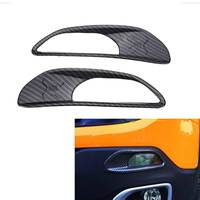 2Pcs Carbon Fiber Look Style Rear Daytime Running Light Covers For Jeep Renegade 2015 2017 Trim Decoration Frame Sticker ABS
