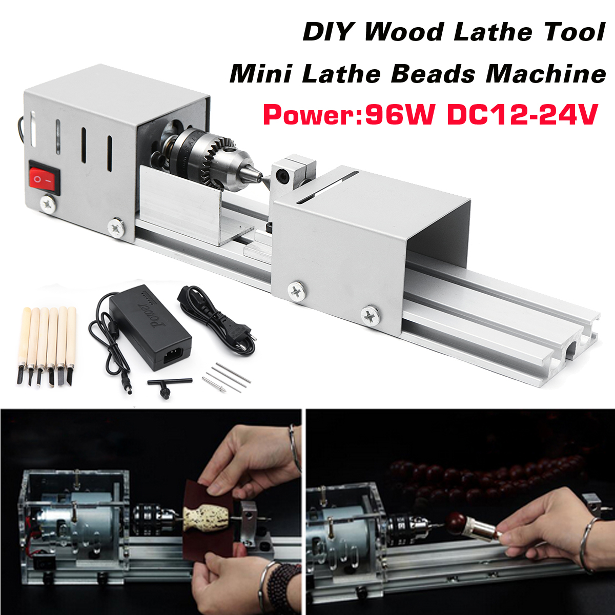 96W Mini Lathe Beads Machine Woodwork DIY Lathe Standard Set with Power DC12-24V carving cutter wolike mini lathe beads machine woodwork diy lathe standard set with power dc12 24v carving cutter wood lathe