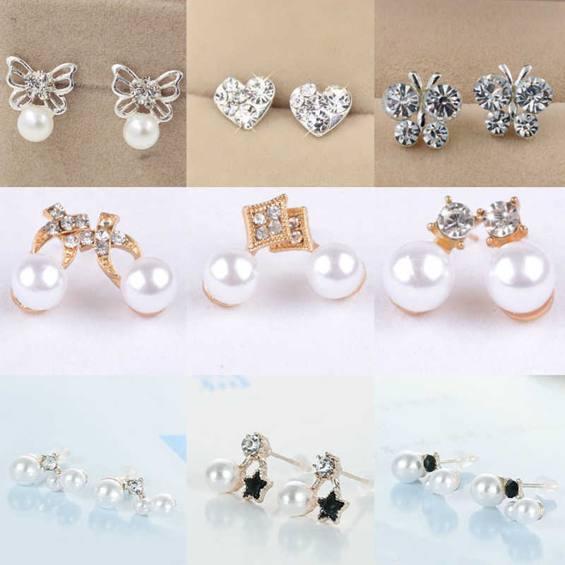 Silvery 19 Models Flower Korean Free Shipping Blue Crown Rabbit Triangle Allergy Free Pearl Buterfly 1Pair Earring
