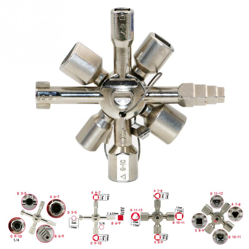 10 In 1 Multifunction Cross Switch Key Wrench Alloy Universal Square Triangle for Elevator Electrical Cupboard Box Train Cabinet