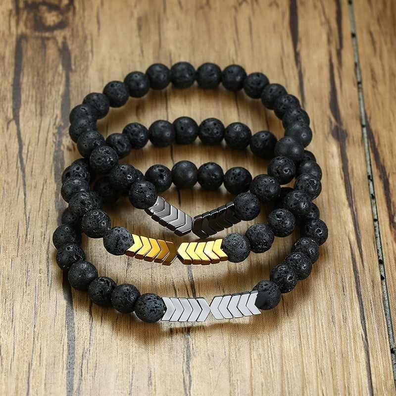 Vnox lava vulcânica dos homens grânulos de pedra óleo essencial difusor pulseiras para as mulheres equilíbrio cura yoga ímã seta charme