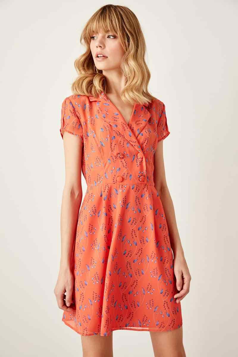 Trendyol Orange Button Detail Dress TWOSS19XO0072