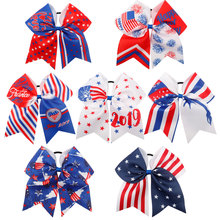 ncmama Hair Accessories 7 Large Bows for Girls 4th of July USA Flag Festival Cheer with Rope