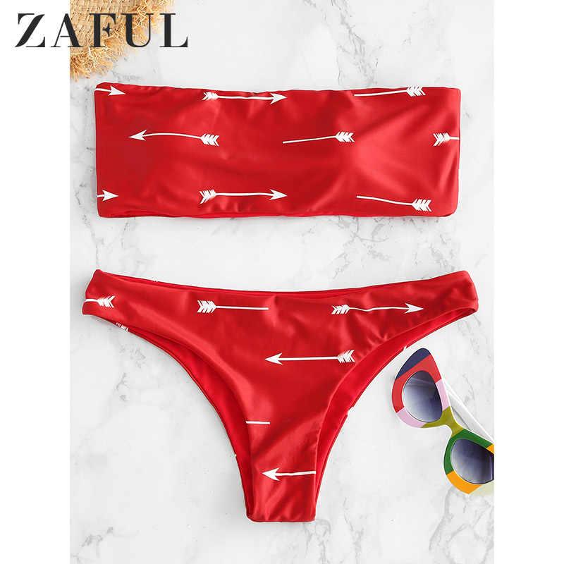 ZAFUL stroje kąpielowe promocja kobiety strzałka druku Bandeau Bikini Set Print Bandeau Bikini oddzielna kobieta strój kąpielowy Biqinis 2019 Mujer