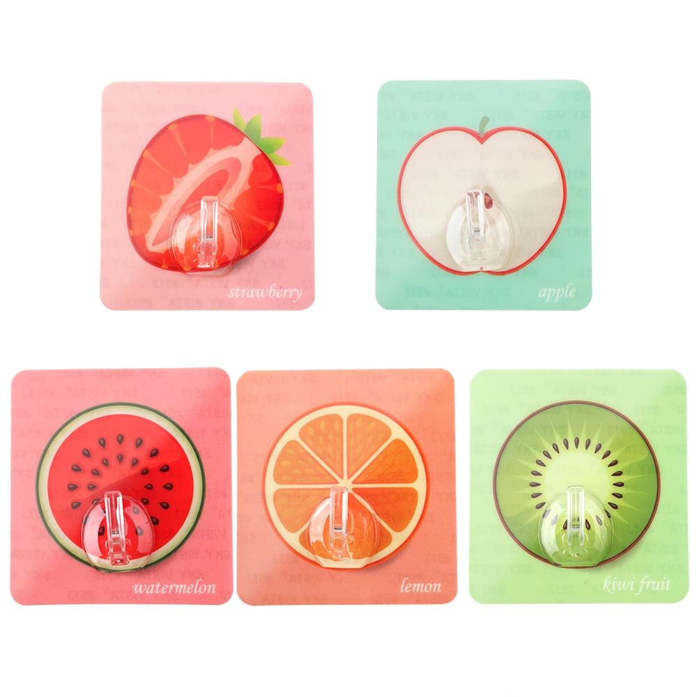 Fruit Sticky Hooks Clothes Towel Key Hanger Adhesive Multifunction Seamless Holder Racks Bathroom Kitchen Wall Door Hook