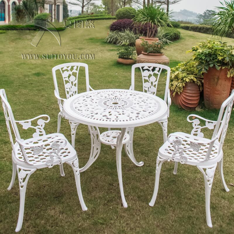 5-piece Anti-rust Cast Aluminum Outdoor Indoor Use  Poolside Balcony Furniture Dining Set With Rose Design