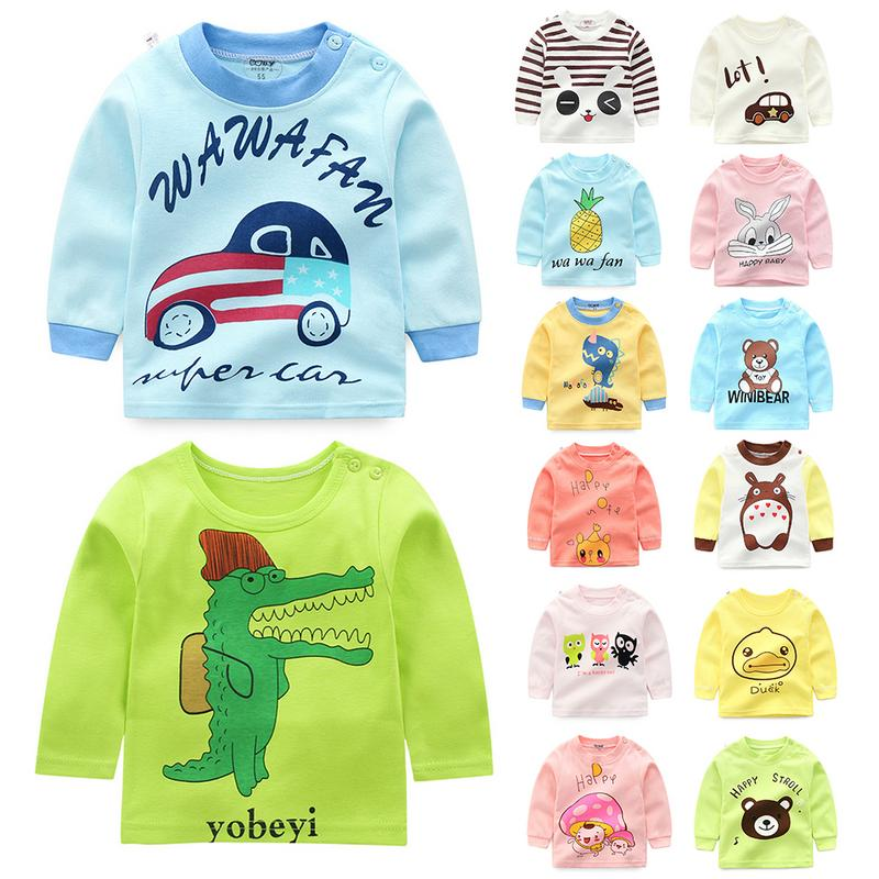 Baby Autumn Clothes Children's Single Top For Baby Girl And Boy Underwear New Shoulder Buckle Children Cotton Clothes