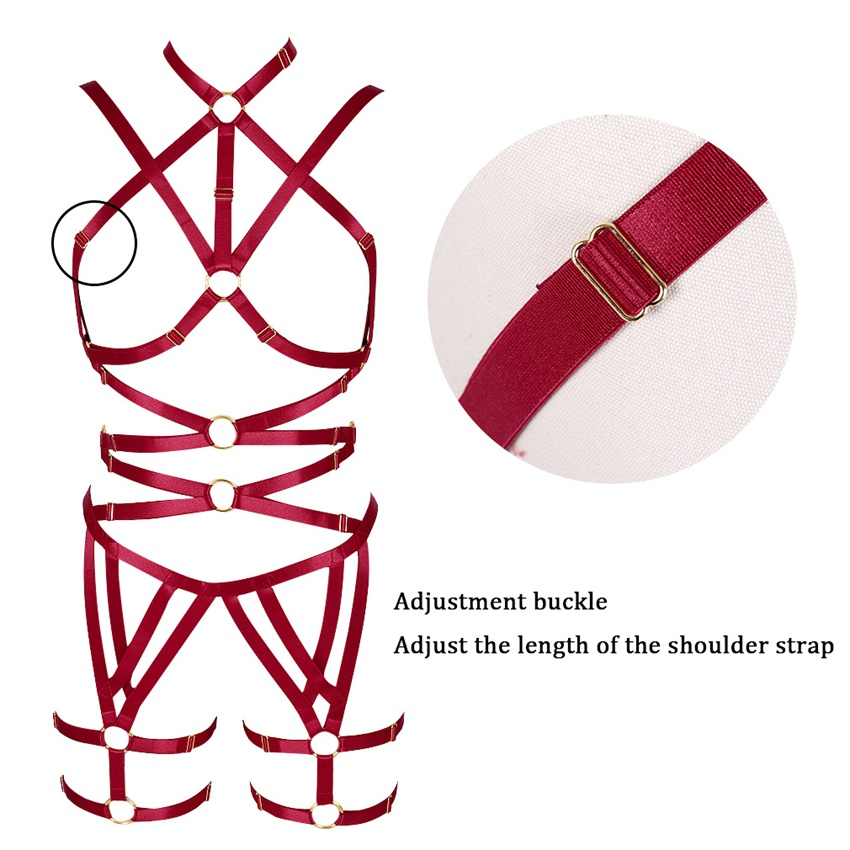 Wine Red Body Harness Bra Women Strappy Tops Hollow Out Sexy Lingerie Set Plus Size Elastic Adjust Punk Goth Club Dance Rave in Garters from Underwear Sleepwears