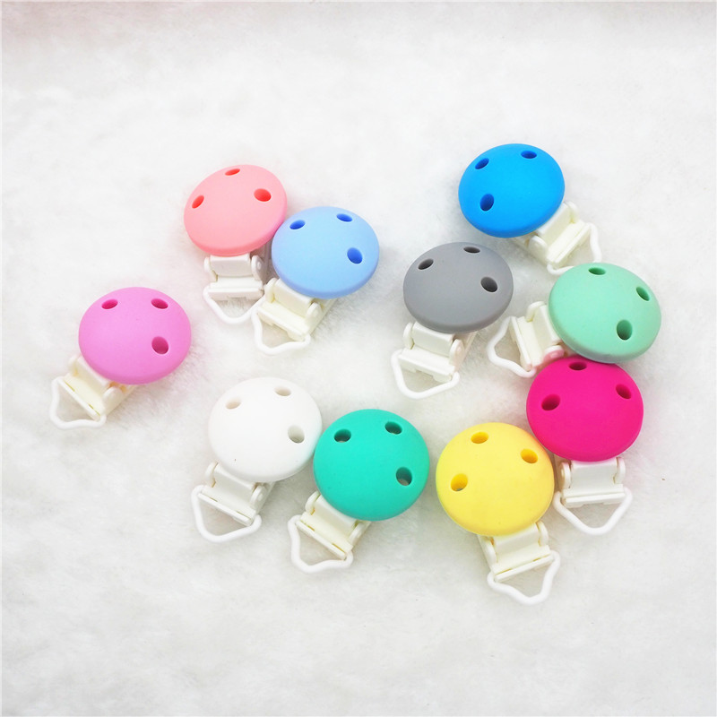 Chengkai 50pcs Plastic Silicone Round Teether Clips DIY Baby Pacifier Dummy Soother Teething Nursing Jewelry Sensory Toy Clips