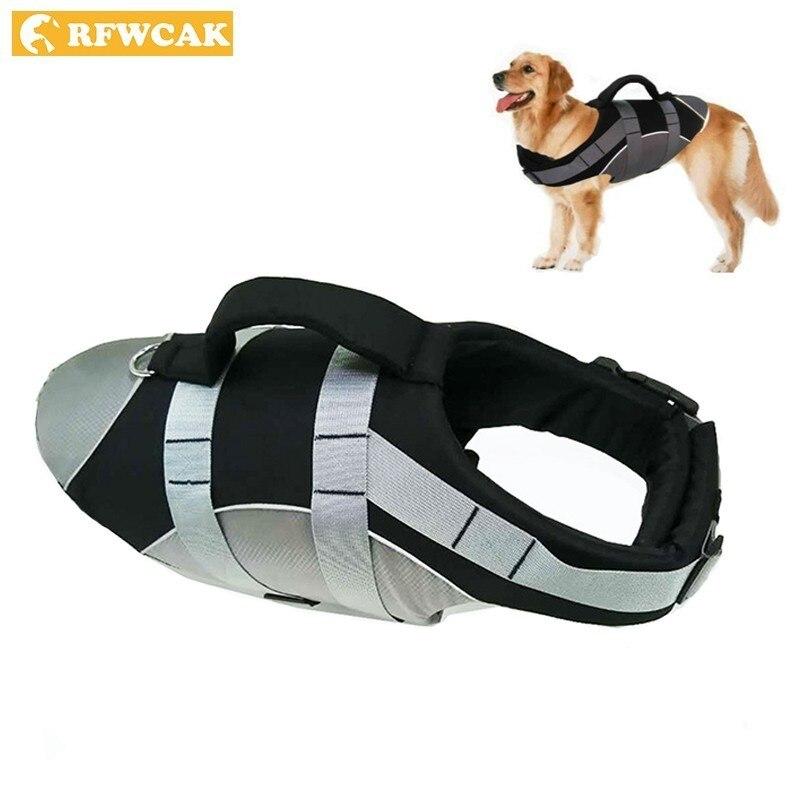 RFWCAK Dog Life Vest Summer Pet Life Jacket Reflective Suit Puppy Harness Rescue Swim Clothing Doggy Safety Clothes Swimwear