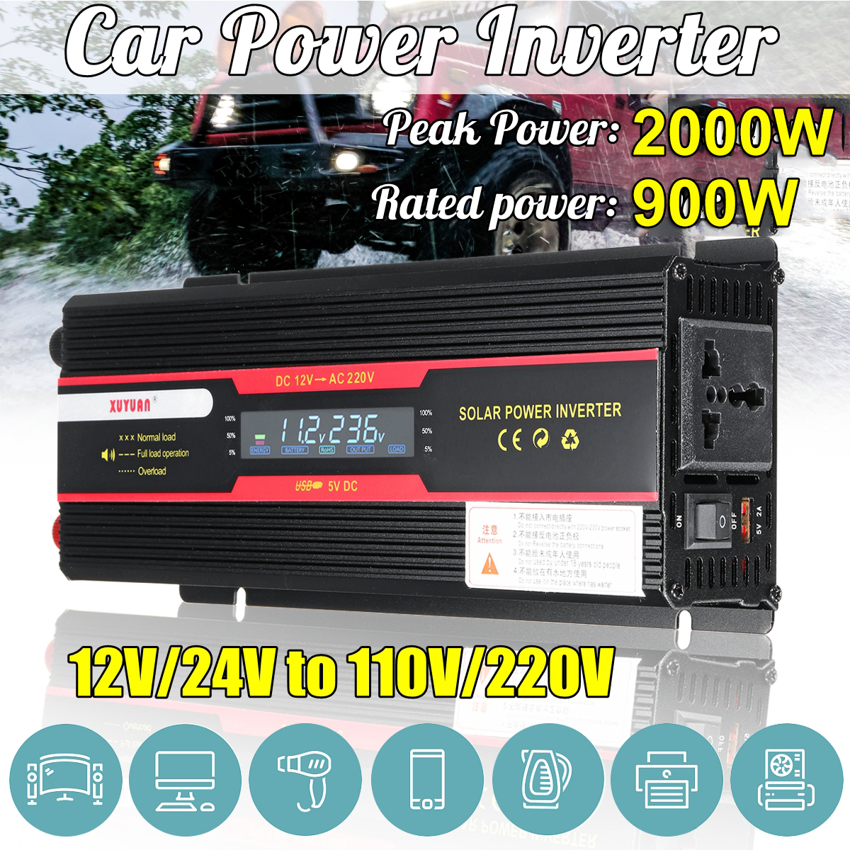 Car Inverter 12V 220V 2000W Pea k Power Inverter Voltage Convertor Transformer DC 12V/24V To AC 220V/110V Solar Inversor LCD 1pcs lot sh b17 50w 220v to 110v 110v to 220v