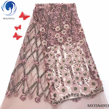 Beautifical tulle lace fabric african fabrics net latest for wedding flower sequins design MX35N49