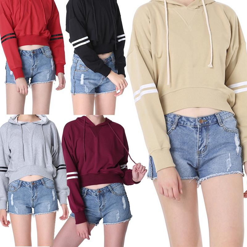 Fashion Student Casual Short Ladies Sweatshirt Pullover Long Sleeve Solid Color Sweatshiet Hooded Sweatshirt Autumn And Winter