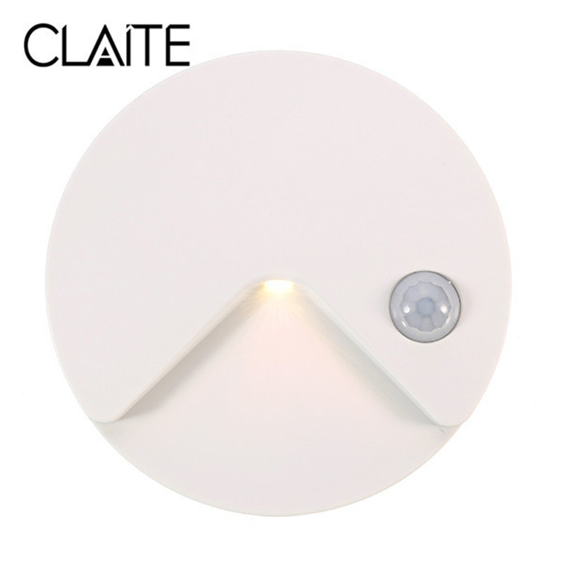 CLAITE USB Rechargeable PIR Motion Sensor Light Control LED Night Lamp Wall Light For Cabinet Toilet Aisle