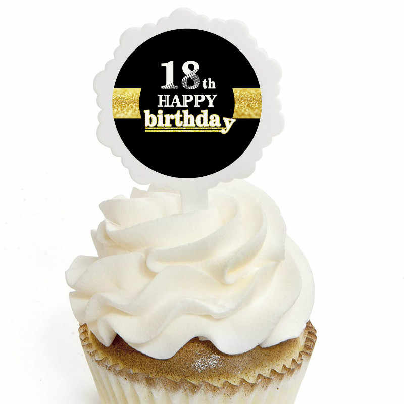 ZLJQ Happy Birthday Cake Toppers 6pcs Black 16 18 21 30 40 50 60 70 80th