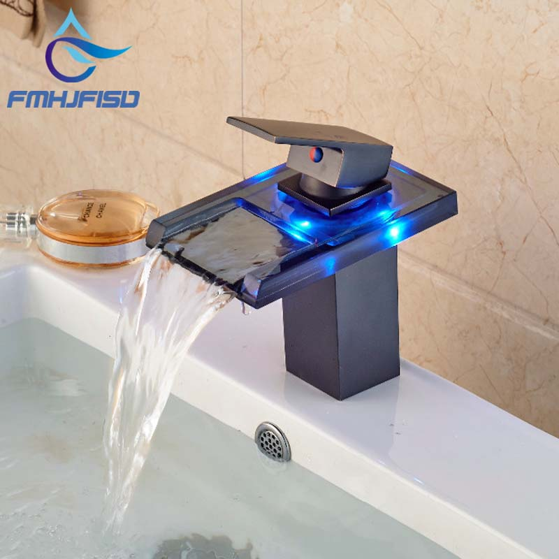 Wholesale And Retail 3 LED Color Changing Waterfall Bathroom Faucet Vanity Sink Mixer Tap Oil Rubbed