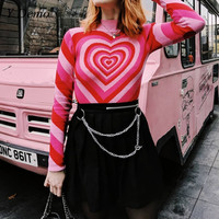 Pink Sweet Heart Half Turtleneck Sweater Woman Spring Pullover Long Sleeve Love Knitting Sweaters