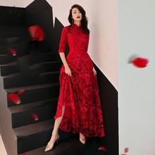 Bride Chinese Evening Dress Elegant 2019 Red Lace Cheongsam Long Oriental Style Dresses Traditional Women Wedding Qipao Girl new cheongsam dress long red lace evening dresses vintage elegant lace lady chinese traditional cheongsam china style wedding