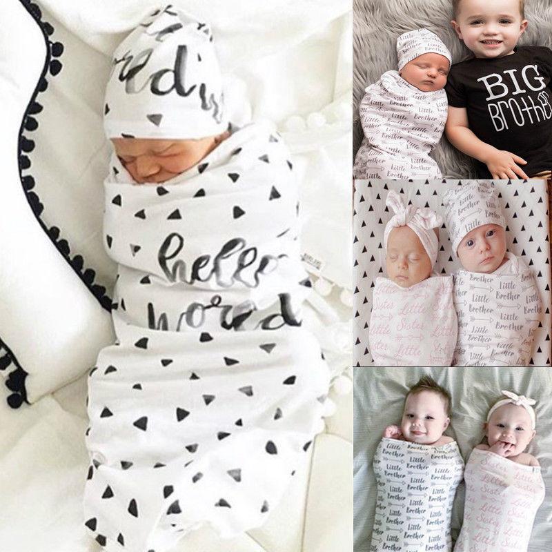 Pudcoco Baby Sleeping Bags 2Pcs/Set Newborn Swaddle Blanket Baby Cocoon Sleeping Bag Muslin Wrap Headband
