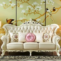 European Solid Wood Genuine Leather Sofa Group Combine Suit System New Classical Small Luxurious Villa A Living Ready