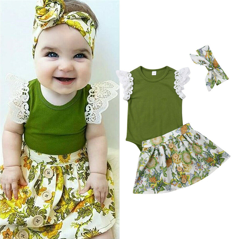 3a9aa9f8b0ee Pretty Summer 3PCS Toddler Kids Baby Girl Clothes Lace Tops Romper Solid  +Tutu Dress+Headband Outfits 3 Pcs Baby boy Sets ~ Super Deal June 2019
