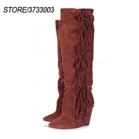 Fashion Pleated Suede High Booties Unique Wedges Sexy Pointed Toe Fringe Tassel Runway Botas Mujer Leather Women Boots
