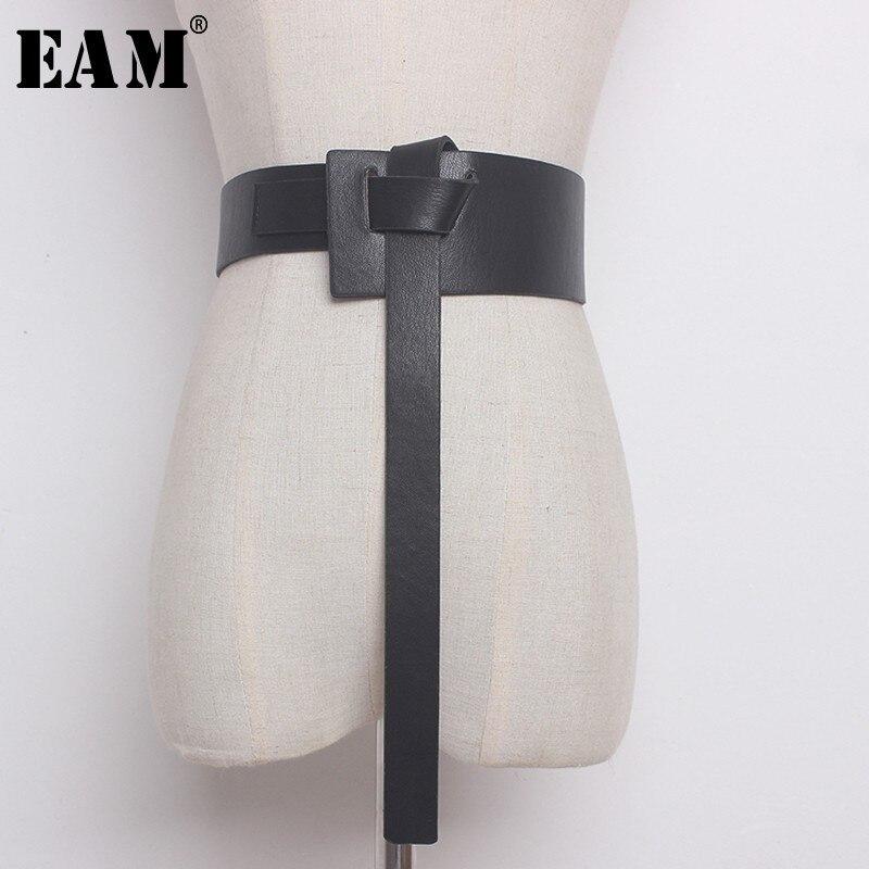 [EAM] 2019 New Summer Solid Color Black PU Leather Knot Bandage Loose Long Irregular   Belt   Women Fashion Tide All-match JG114