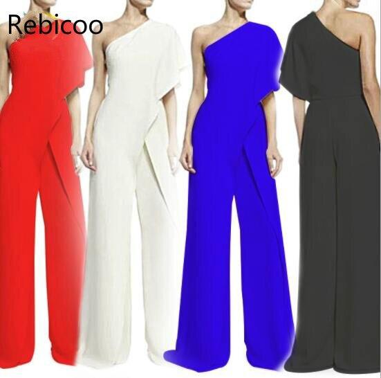Women   Jumpsuit   2018 New Fashion One Shoulder White   Jumpsuits   Elegant Ladies Wide Leg Pants Casual Women Overalls