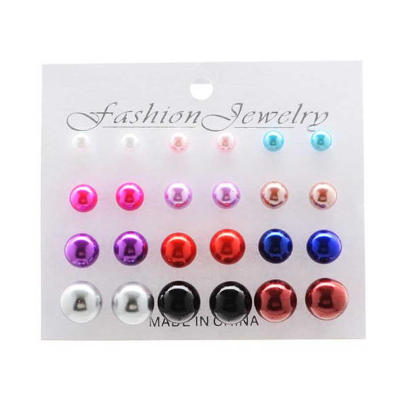 12 pairs White Simulated Pearl Earrings Set For Women Jewelry On Ear Ball Stud Earrings kit