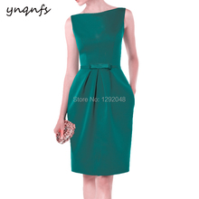 YNQNFS M112 Vintage Pockets Satin Dress Party Gown Guest Wear Knee Length Emerald Green Mother of