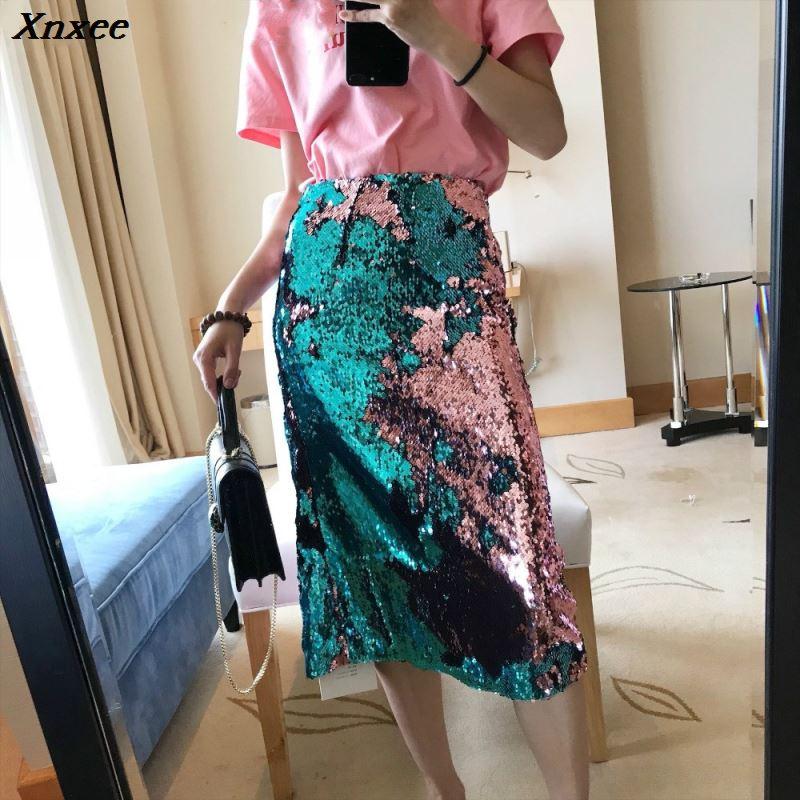 Sexy Club Party High Waist Bling Bling Glitter Bodycon Skirts For Women Back Split Pencil Sequin Skirt Xnxee 2019
