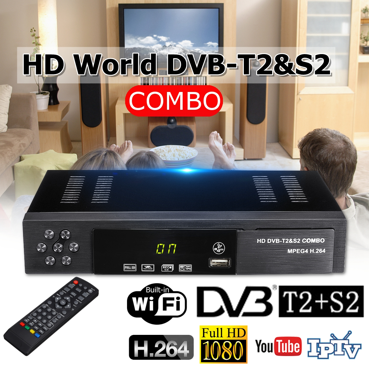 USB 2.0 DVB S2 T2 TV Tuner DVB-S2 DVB-T2 Combo Receiver Set Top Box Full-HD Digital Smart TV Box MPEG4 Support Wifi Antenna