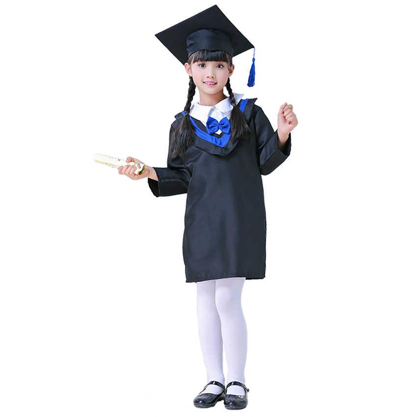 dd8810d91 ... Kids Graduation Gown Children Bachelor Costumes School Students Uniform  Girls Dress set with Hat Baby Performance ...