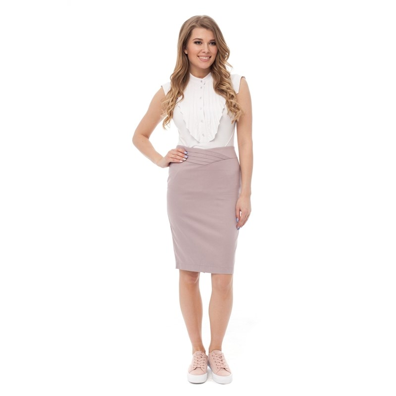 Canvas pencil skirt with decorative V belt. rib knit pencil skirt
