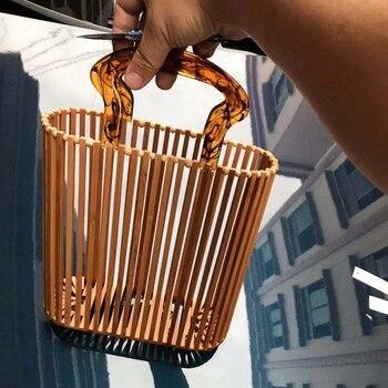 Fashion Women Bags Designer Acrylic Handle Woven Bag Bamboo Bag Stitching Hollow Bag Clutch Bali Beach Holiday Handbag 6