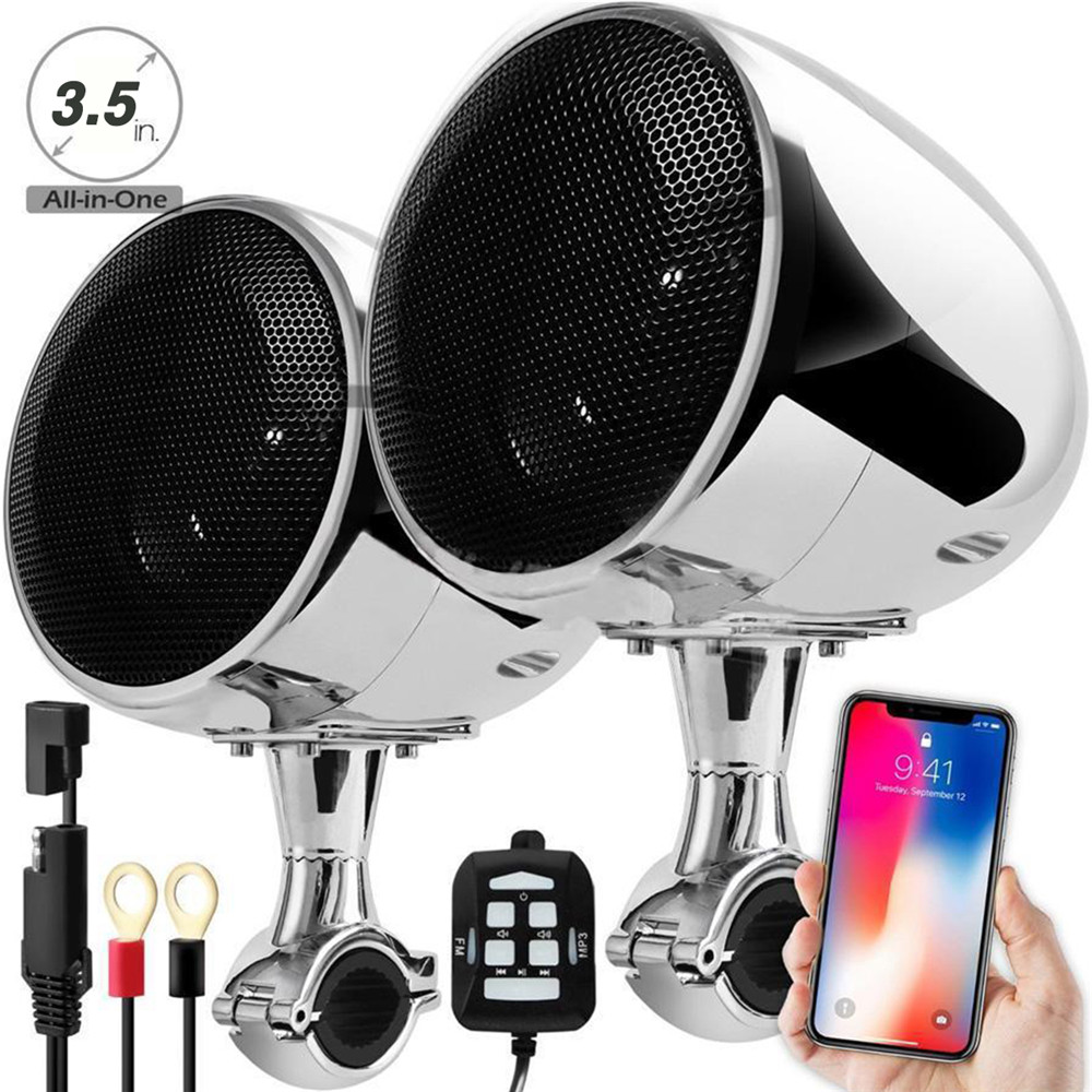 High Performance 4 Inches Waterproof Motorcycle ATV Bluetooth Speaker With 300W Built-in D-class Amplifier Chrome For Harley