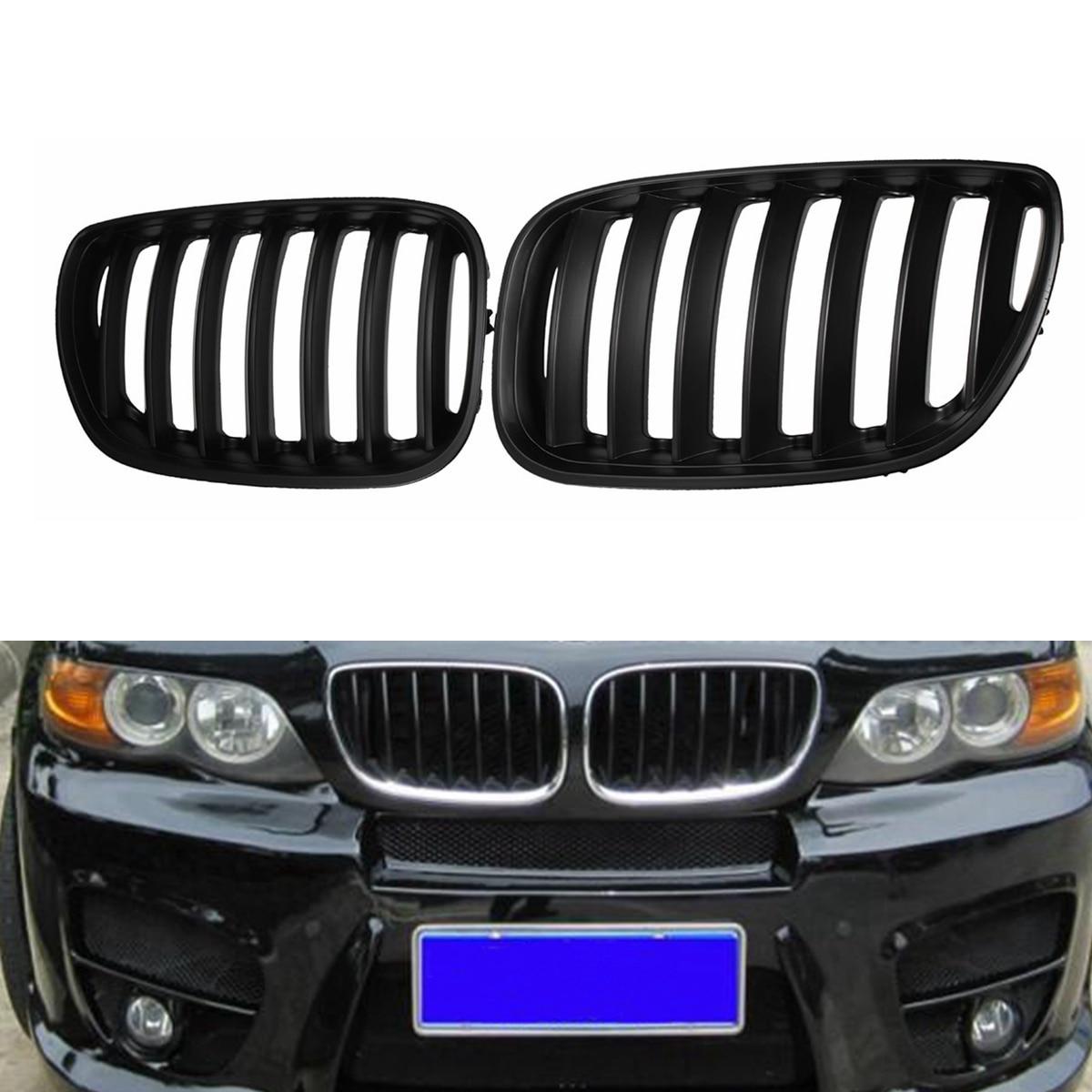 Pair Matte Black Chrome Front Bumper Grille Front Hood Kidney Sport Grills Grille for BMW X5