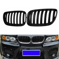 Pair Matte Black Chrome Front Bumper Grille Front Hood Kidney Sport Grills Grille for BMW X5 E53 2004 2006 Car Styling