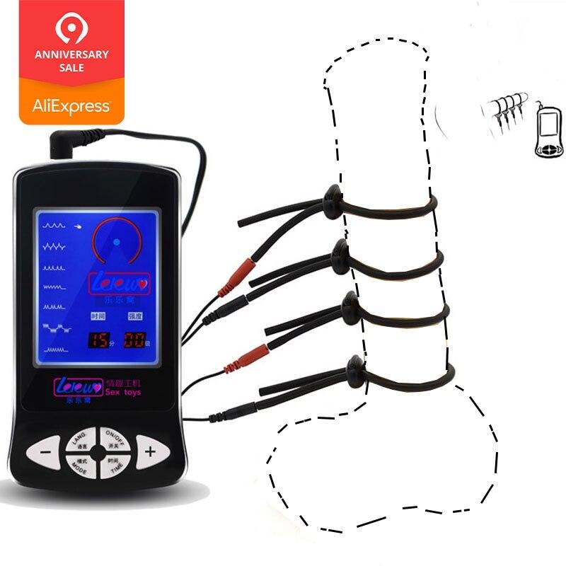 Chegada nova Série Silicone Massagem Tratamento de Choque Elétrico Anel Peniano Pênis Anel Brinquedos Sexuais Para Homens Electro Brinquedos Sexo Médica