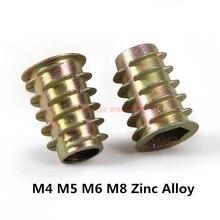 Furniture Wood-Insert-Nut Thread Hex-Drive-Head Flanged M4 M5 M6 M8 50pcs for Nuts Hw058