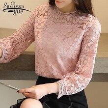 Модные Новые женские топы и блузки с длинным рукавом Сексуальная кружевная блузка рубашка женская, блузка кружевные топы рубашки женские 1636 50