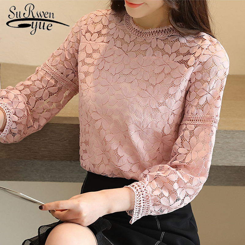 new fashion womens tops and   blouses   2019 long sleeve sexy hollow lace   blouse     shirt   women   blouse   lace tops women   shirts   1636 50