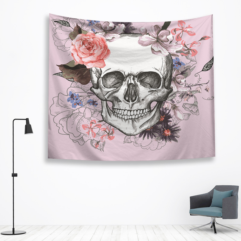 Skull Tapestry Spanish Mexican Print Wall Hanging Decor