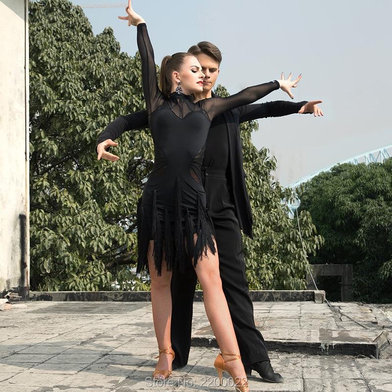 2018 New Brand 2 Colors Latin Dance Dress Women Sleeve Tango Rumba Flamengo Ballroom Dance Dress
