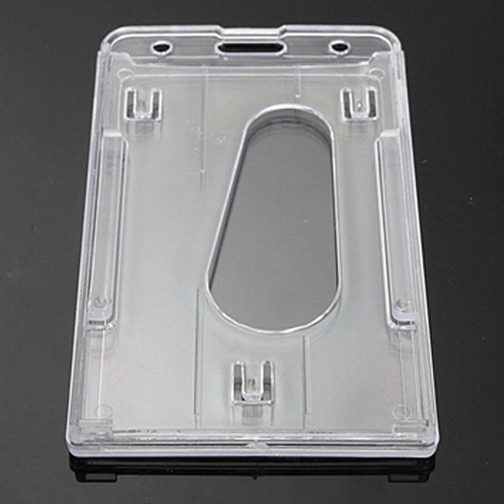 Practical Badge Multi-use Portable Hard Plastic Transparent Work Card Holder Durable Double Side ID Card Case