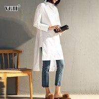 VGH Autumn Winter Women's Shirt Asymmetrical hem Long Sleeve Loose Slim White Blouse tops female 2019 Fashion New Women Clothing