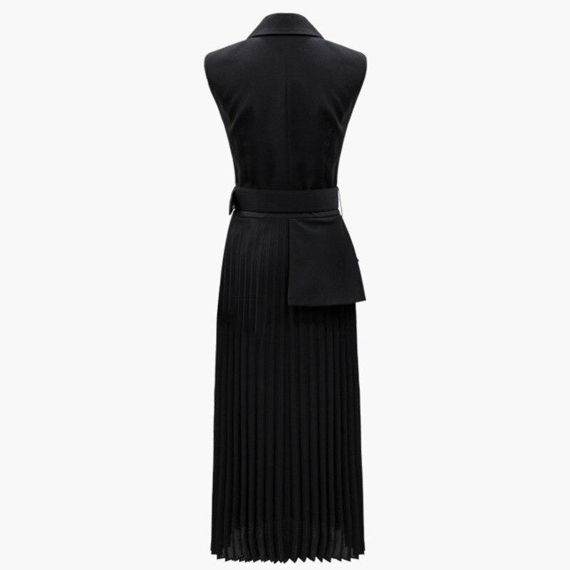 LANMREM 2019 nueva ropa de moda de verano para mujeres entallada sin mangas Split plisado hemline falso vestido de dos piezas YG96201-in Vestidos from Ropa de mujer    2