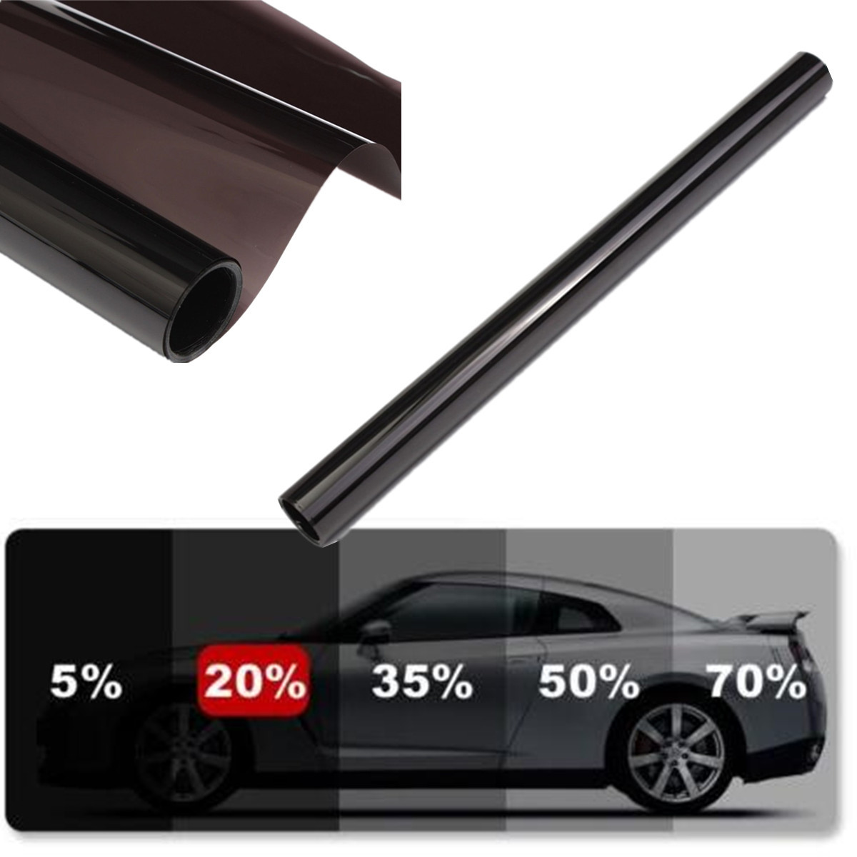 50x600cm Car Window Tint Film Glass VLT 1percent 5percent 15percent 20percent 30percent 35percent 50percent Roll 1 PLY Car Auto House Commercial Solar Protection Summer