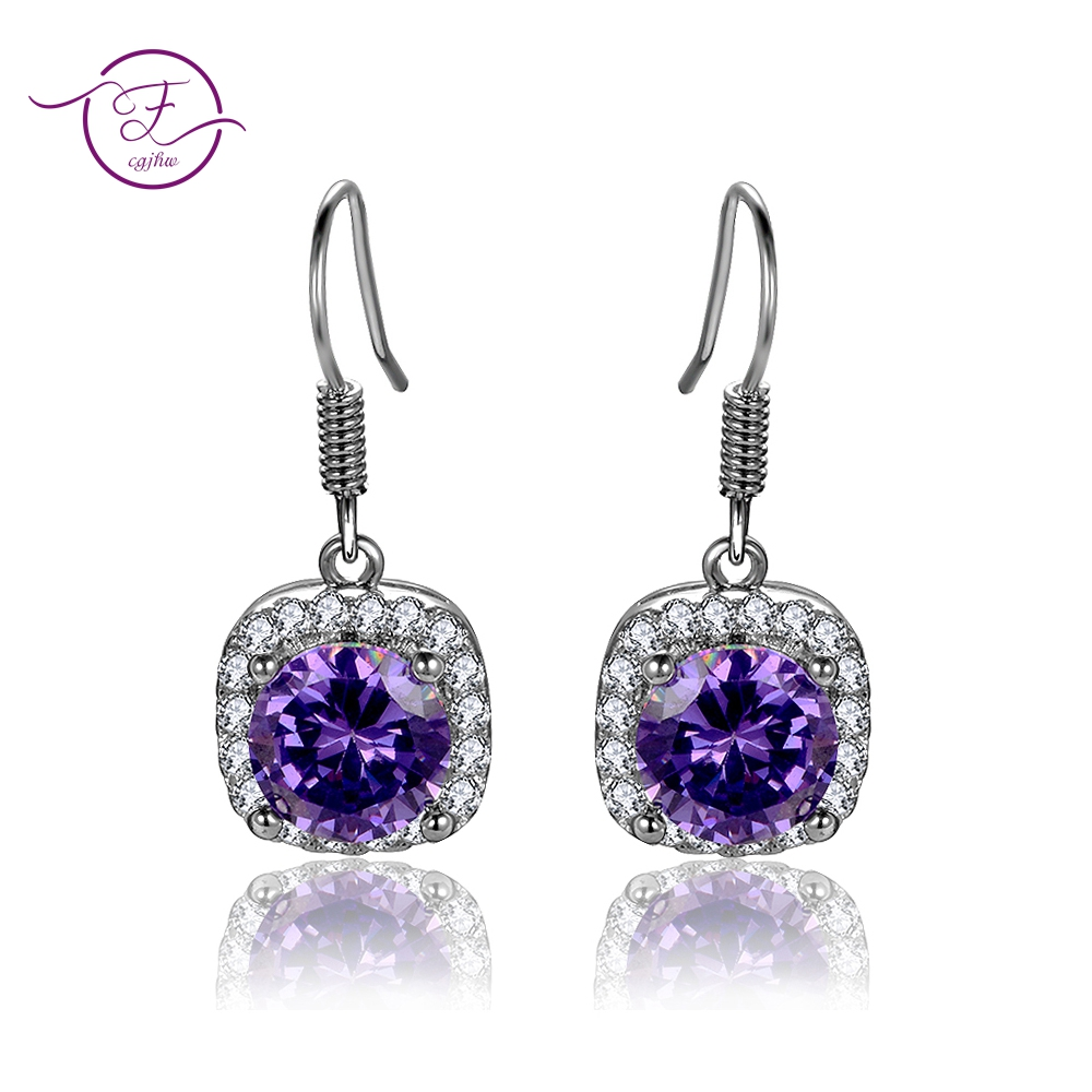 Natural Amethyst Drop Earrings Womens Real Solid 925 Silver Jewelry Earrings New Square Drop Earring Wedding Birthday GiftsNatural Amethyst Drop Earrings Womens Real Solid 925 Silver Jewelry Earrings New Square Drop Earring Wedding Birthday Gifts
